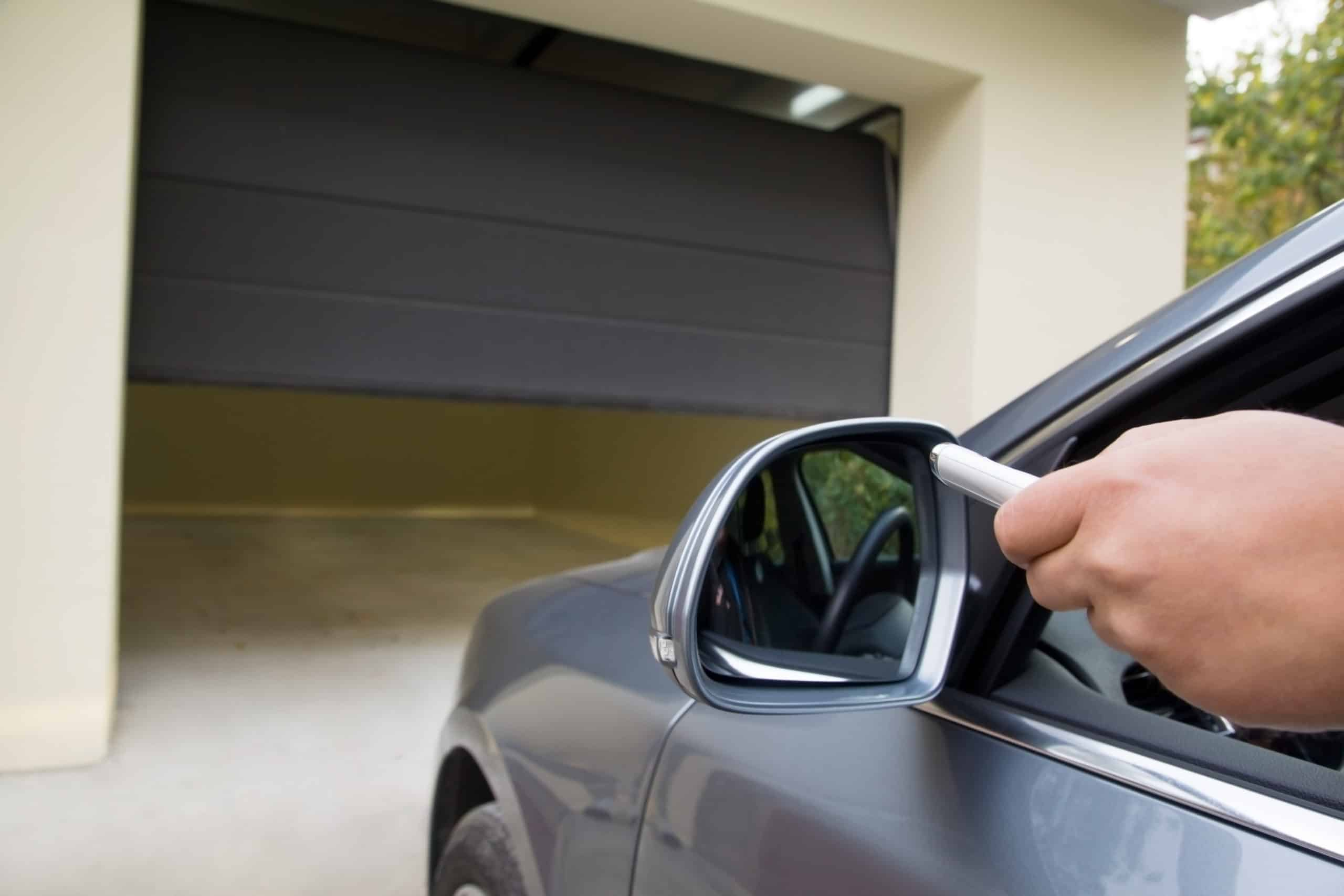 opening garage door with remote from car